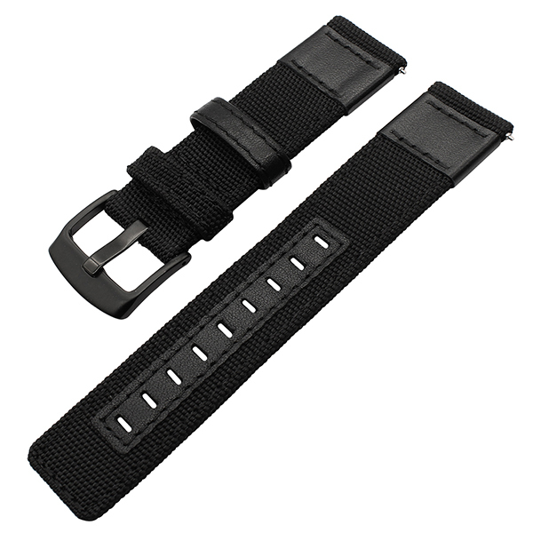 Durable Canvas Fabric Watch Strap Genuine Leather Ballistic Nylon Watch Bands Bracelets with Black Buckle 20mm 22mm 24mm | Watchbands