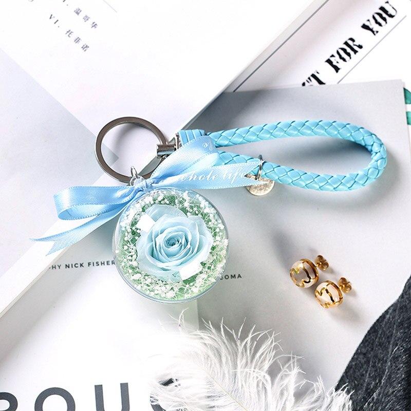 Новинка, красивая и чудовищная Роза в стеклянном куполе, светодиодный светильник, украшение для дома на День святого Валентина, рождественские подарки - Цвет: Blue 1 Keychain