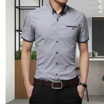 2019 New Arrival Brand Men's Summer Business Shirt Short Sleeves Turn-down Collar Tuxedo Shirt Shirt Men Shirts Big Size 5XL 1