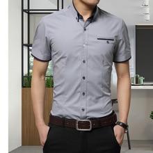 2018 New Arrival Brand Men's Summer Business Shirt Short Sleeves Turn-down Collar Tuxedo Shirt Men's Shirt Big Size 5XL