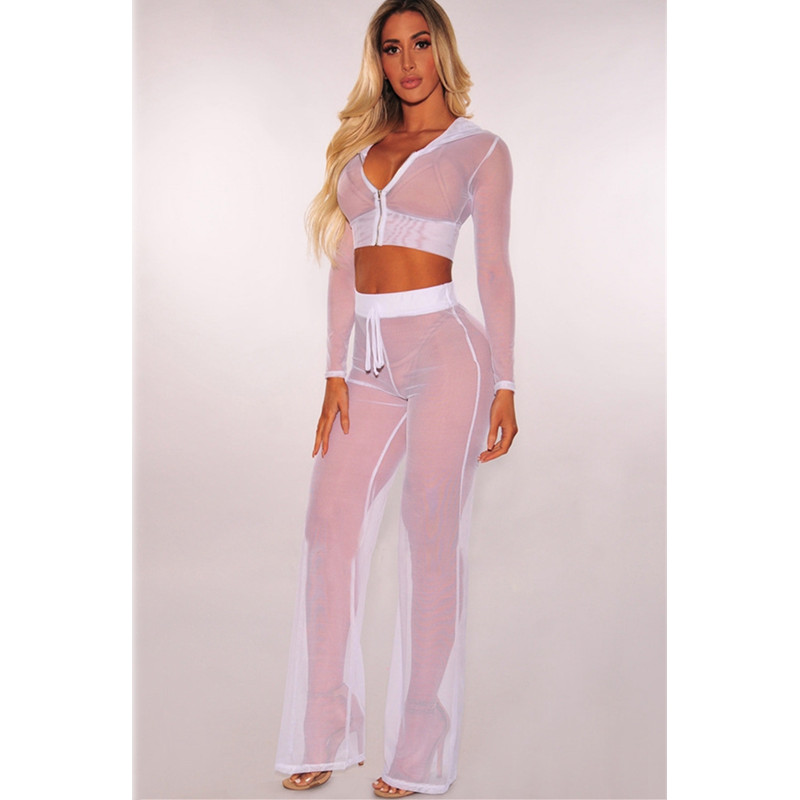 Women Sexy Transparent Mesh Two Piece Set Top And Pants 2019 Summer 2 Piece Set Club Outfits Lady Tracksuit Sportwear Sweat Suit