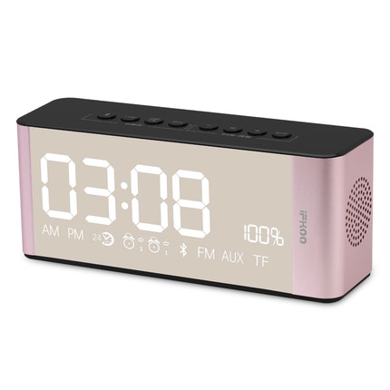 Bedside Alarm Clock with Bluetooth Speaker, Wireless Stereo Sound Speaker Built-in TF Card, LED Nightstand Clock D3