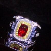 Ювелирных Камней Оптовая Продажа с фабрики Классический Люкс 18 К желтого золота настоящий бриллиант натуральный рубин Золотое кольцо для ж