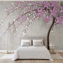 Purple Tree Flowers Nordic Elegance 3d Stereo TV Background Wallpaper Mural Home Decor Custom Photo