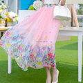 Free Shipping 2017 New Summer Bohemia Beach Chiffon Flower Print Female Elastic Waist Long Maxi Ladies Pink Skirt With Big Hem