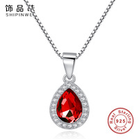 Shipinwei 925 Sterling Silver Waterdrop Red Crystal Pendants Necklace Clear CZ Rhinestone Necklaces Wedding Jewelry For