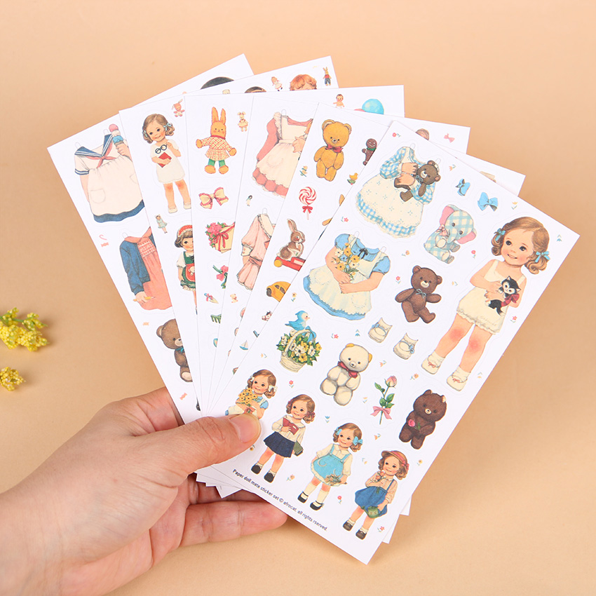 6 Sheets/set Girl Dolls Sticker Clothes Diary Scrapbook Calendar Notebook Label Decoration Stationery Sticker 6 sheets set book planner mobile sticker cat diary scrapbook calendar notebook label decoration free shipping