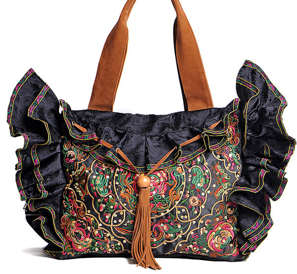 Brand Black canvas brocade lace women bags ethnic embroidery bags handmade Sequin Shoulder bag noenname 2018 summer new miao handmade bucket bags ethnic flowers embroidery canvas backpack women bags female national