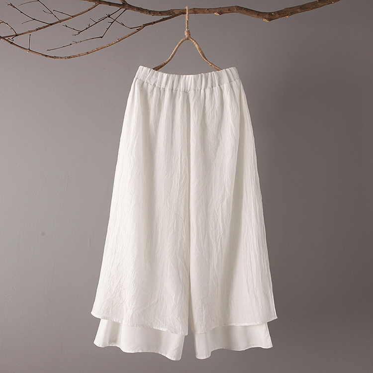 Original Design 2018 Spring Summer New Literary Vintage Elastic Waist Solid Color Double Layer Cotton And Linen Wide Leg Pants 1