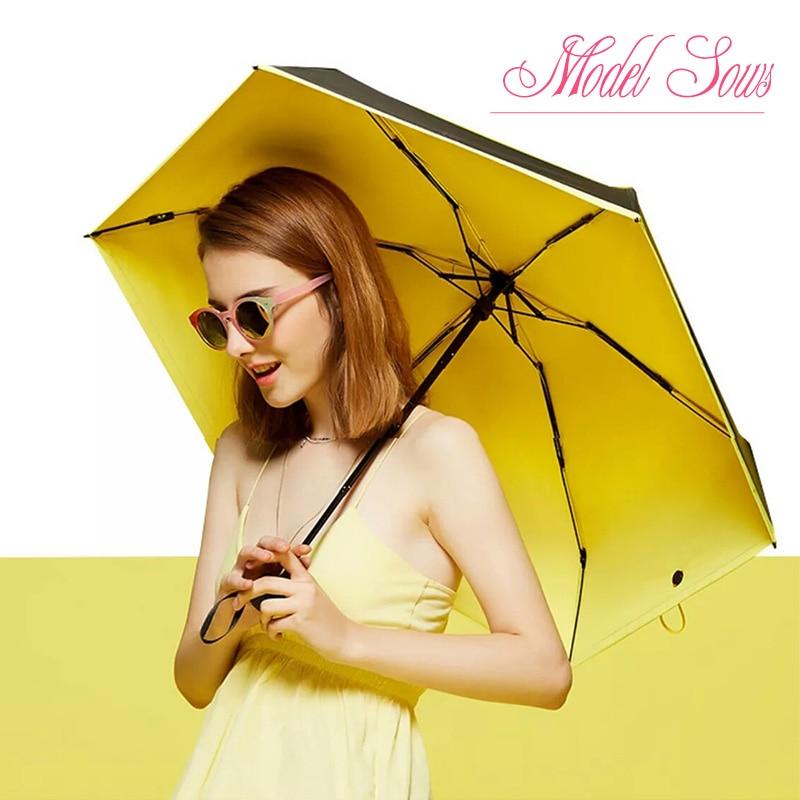 Umbrella rain women Kids Paraguas New Creative 195g Super light umbrella mini Pockets umbrella Green