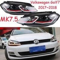2pcs 7.5th Bumper lamp for Golf 7 2017 Headlights Golf7 MK7.5 LED taillight Headlight DRL Lens Double Beam Bi Xenon HID