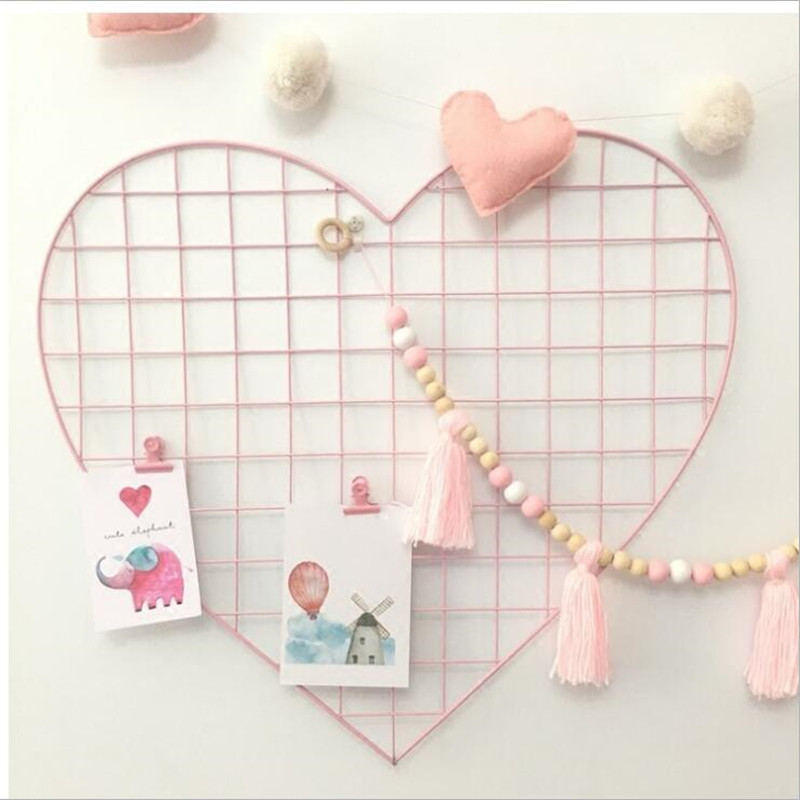 1pc Popular Creative Pink/white Heart-shaped Grid Photo Wall Girls Heart Bedroom Iron Gr ...