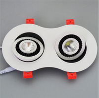 Wholesale  price Dimmable 20W/24W COB Led Ceiling Down light Recessed Double Led Downlight 360 degree rotation Light AC85-265V