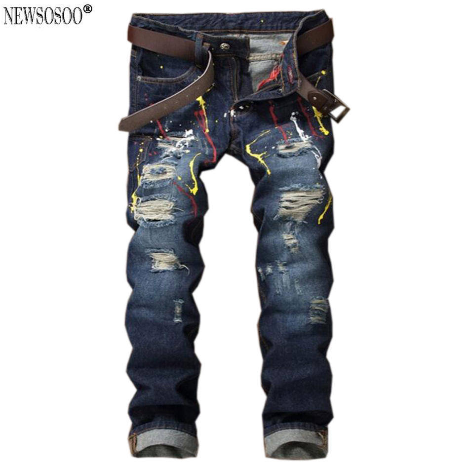 ФОТО Newsosoo America hi-street style ripped jeans for men fashion slim fit straight ink distressed jeans homme  MJ64