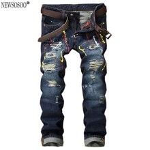 Newsosoo Америка hi-уличный стиль рваные джинсы для мужчин мода slim fit прямые чернил проблемные джинсы homme MJ64