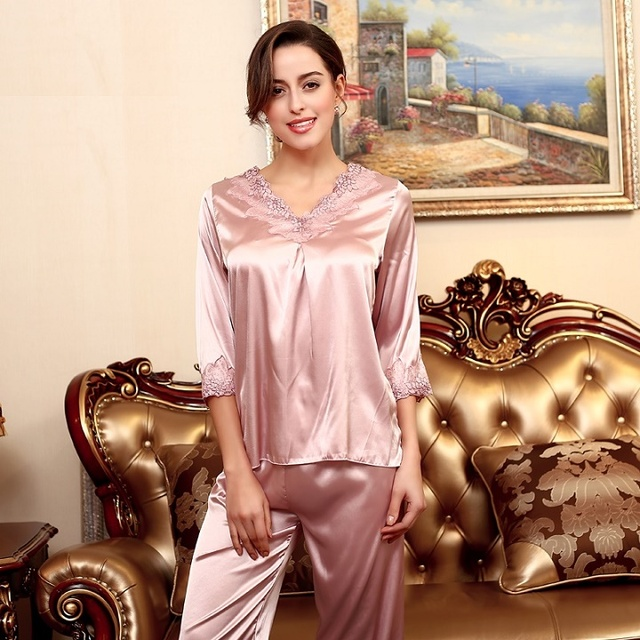 8a427aff37 Yao Ting Women Pajamas 2016 Brand Fashion Design Pyjamas Women Faux Silk  Lady Home Satin Lace Sleep Lounge 2 Piece Pijama Set