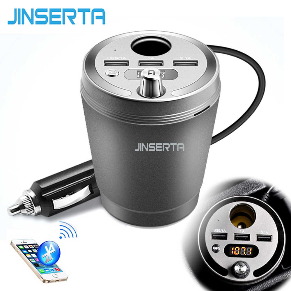 JINSERTA Bluetooth Car MP3 Player FM Transmitter 3 USB Output 3.1A Cup Cigarette Lighter Adapter Phone Charger USB TF SD Siri