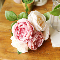 5 Heads Pcs Champagne Pink Silk Roses Fake Flowers Artificial Peony Bouquet Silk Flowers For Wedding