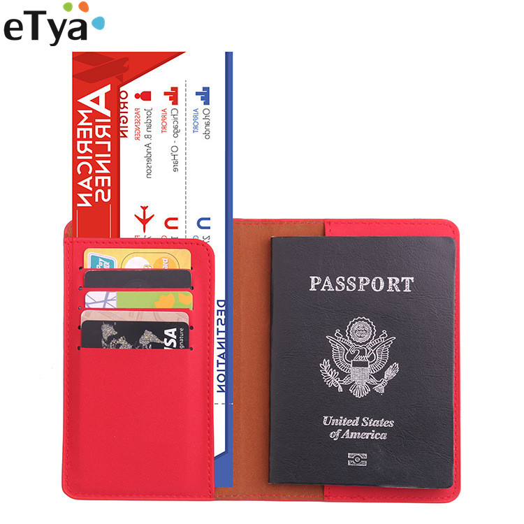 eTya PU Women Travel Passport Cover Business Passport Holder ID Credit Card Holder Men Passport Wallet Purse Document Case travel bag wallet purse document organizer zipped passport tickets id holder new