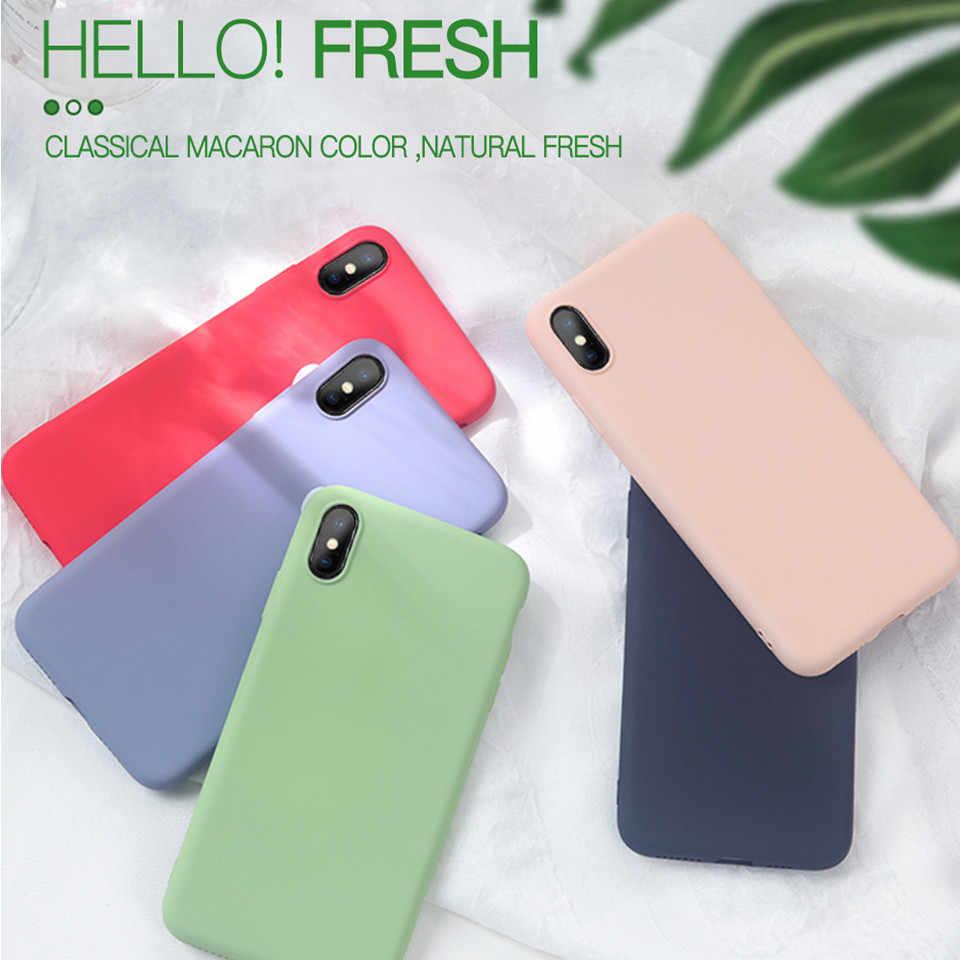 Оригинальный жидкий силикон для iPhone 7 8 6 6s Plus 5 5S 4 4s тонкий мягкий чехол карамельный цвет Coque Capa для iPhone X Xs Max XR