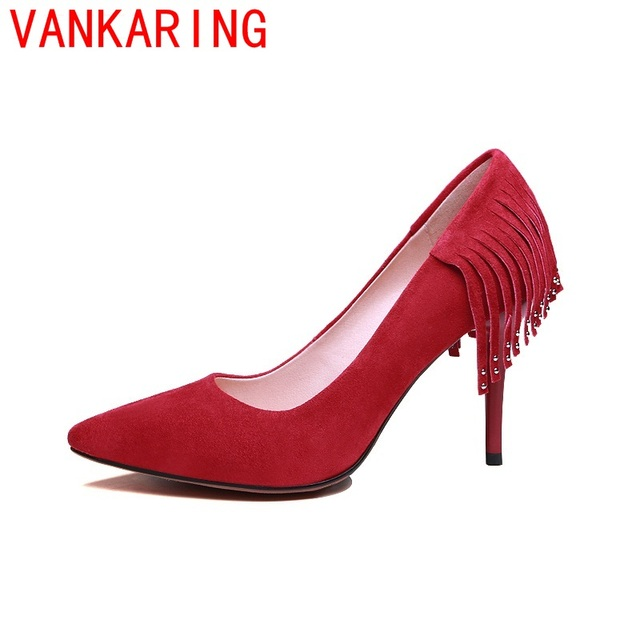 VANKARING shoes 2016 zapatos mujer superstar shallow pumps genuine leather spring autumn thin high heels new arrival shoes