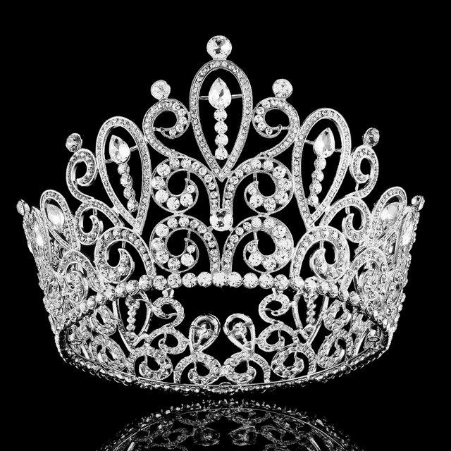 4.2 Inch Big Silver Alloy Crystal Wedding Crown Tiara and Crown Bridal  Accessories Hair Jewelry Ornaments 8b3bd646e4f3