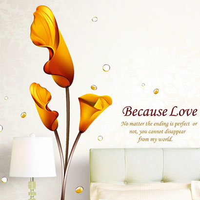 The third generation wall stickers calla lily tv sofa wall stickers sticker