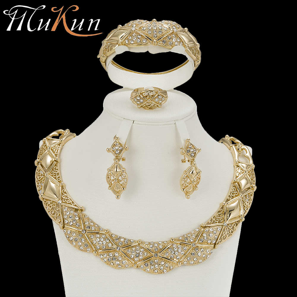 MuKun trendy nigerian beads necklace jewelry set for wedding crystal african beads jewelry set for women earrings jewellery