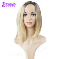 Beyond Beauty Short Synthetic   Wig   For Women Ombre Blonde Black Straight Bob   Wigs   Haircut False Hair   Cosplay     wig