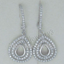 Jewelry Earing Mounts Sets Vintage Pear 4x6mm Solid 18Kt White Gold  Semi mount Earrings E147