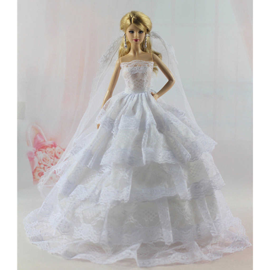 40b24d79ff Stunning Garment Set White Tube Top Dress Wedding Gown w. Veil & Black Tux  Business Suit For Doll Accs