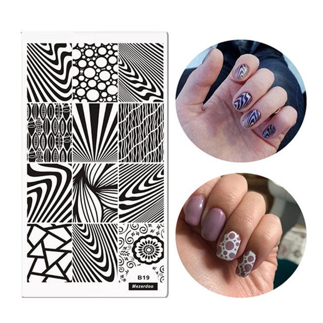 Classic Line Zebra Strips Patronen Nail Art Stamp Template Image Plaat 12*6 cm Houtnerf Stijl Stempelen Plaat mezerdoo B19