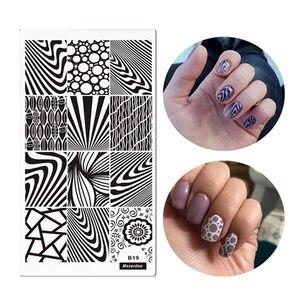 Классические полосы зебры с узорами, дизайн ногтей шаблон изображения пластины 12*6 см дерево зерна стиль штамповки пластины Mezerdoo B19
