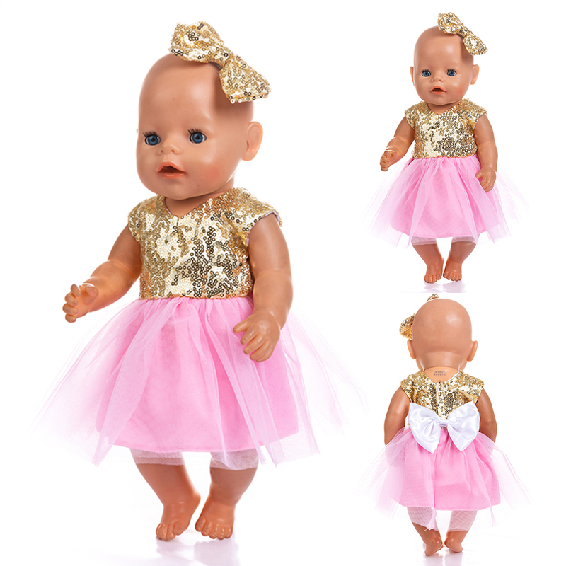 New Headdress + Dress Clothes Fit 17 Inch 43cm Doll Clothes Born Baby Doll Clothes Dress For Baby Birthday Festival Gift