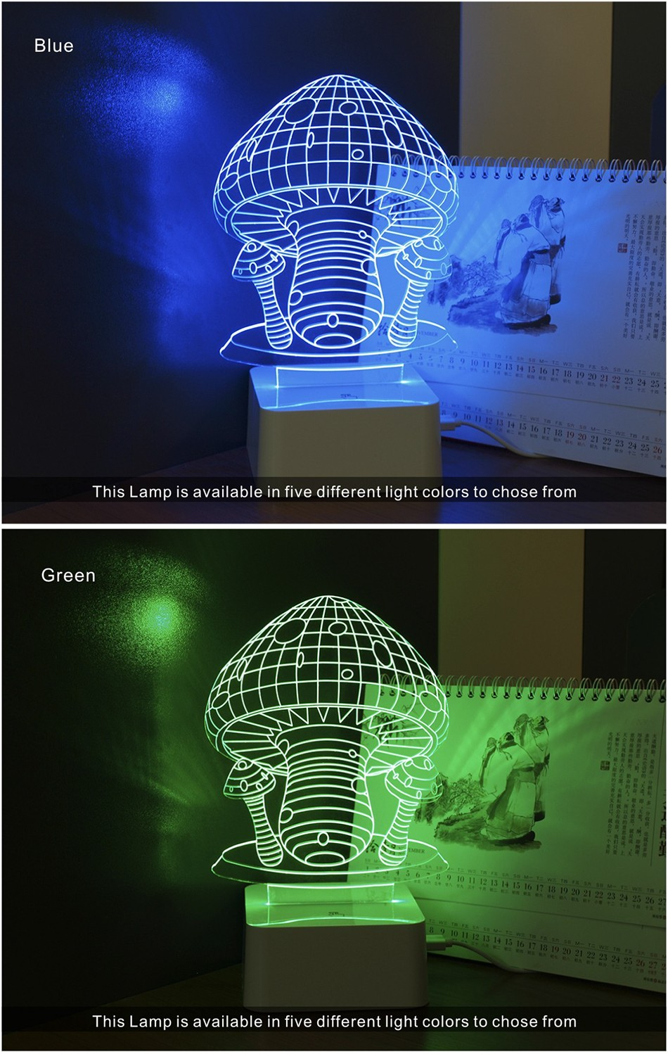 Novelty Holiday Gifts Colorful Mushroom Lights 3D Lamp LED Night Light with Touch Lamp Base (4)