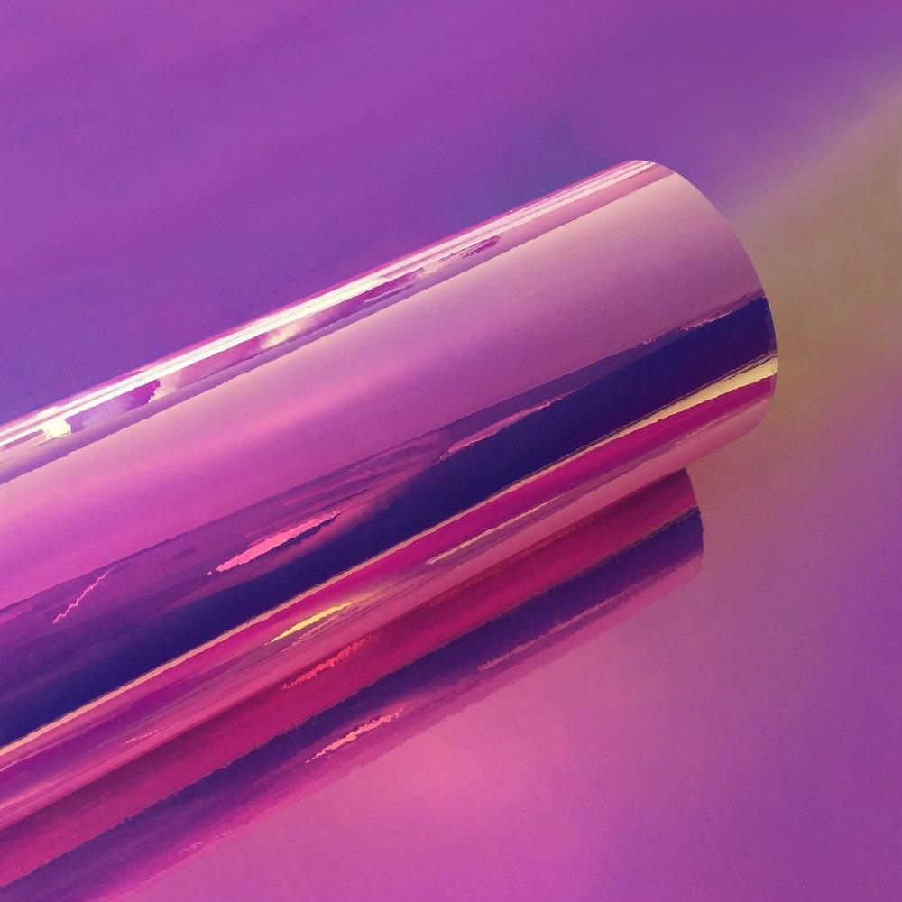 10 см x 100 см голографические радужные хромированные автомобильные наклейки с лазерным напылением, виниловая пленка для кузова, для самостоятельной сборки автомобилей - Название цвета: Pink