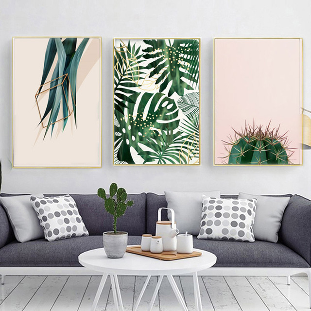 Canvas Prints For Living Room Upholstery Cactus Plant Posters And Wall Pictures Art Painting Cuadros Decoracion No Frame