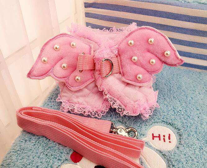 Dogs cats lovely pink angle princess harness leash suit doggy fashion pearl harnesses leads sets products puppy leashes 1pcs