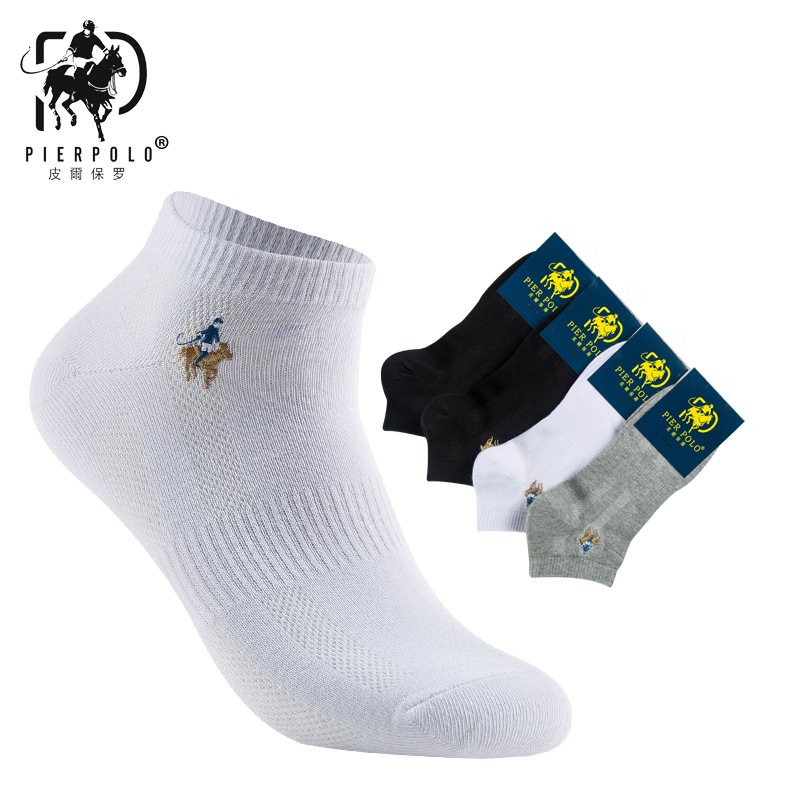 2018 New Casual summer Pier Polo Cotton Adult mens Socks Embroidery Section dress sock mens brand 6 pairs set of socks