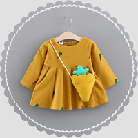 Baby Girls Dress 2018 Winter Fleece Infant Girls Clothes Spring Newborn Baby Clothes With Shoulder Bag
