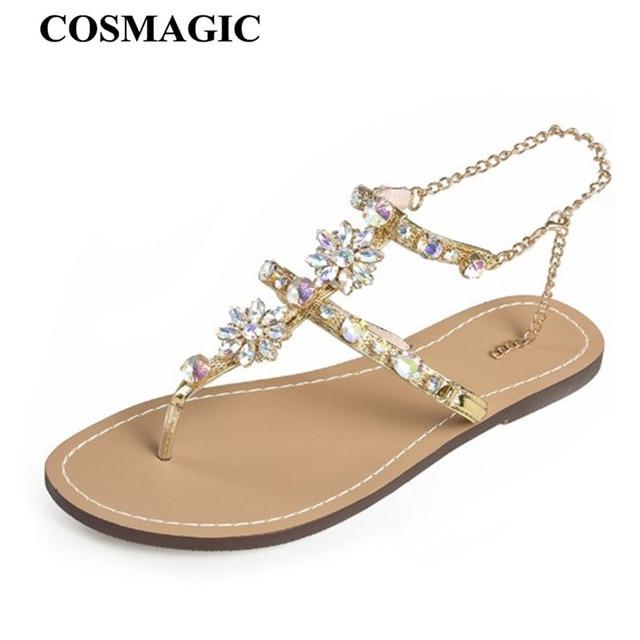 47475079b368c COSMAGIC Fashion Bohemia Rhinestone Sandals Flats 2018 New Women Summer  Buckle Strap Solid Sandals Shoe Flat with Plus Size
