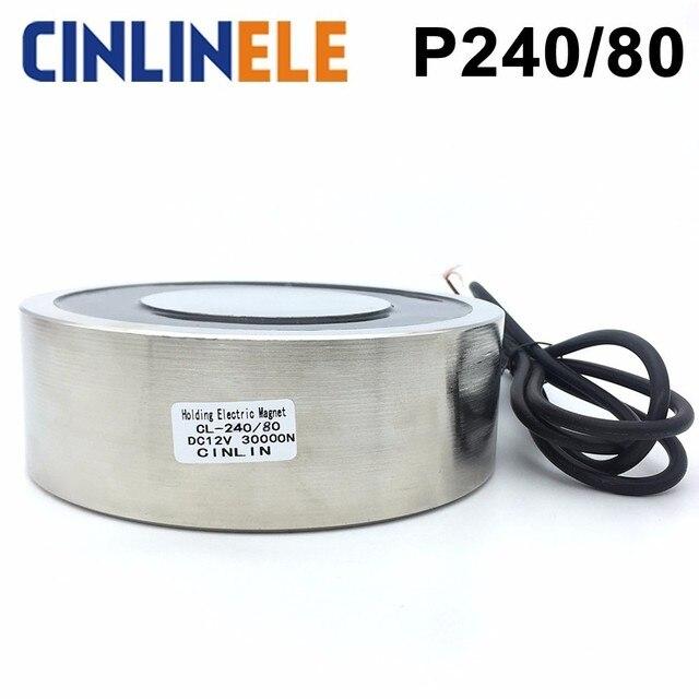 CL-P 240/80 3000KG/30000N Holding Electric Magnet Lifting  Solenoid Sucker Electromagnet DC 6V 12V 24V Non-standard custom