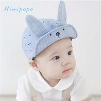 HIMIPOPO Cute Baby Cartoon Rabbit Hat Kids Baseball Cap Newborn Infant Boy Girl Beanies Soft Cotton