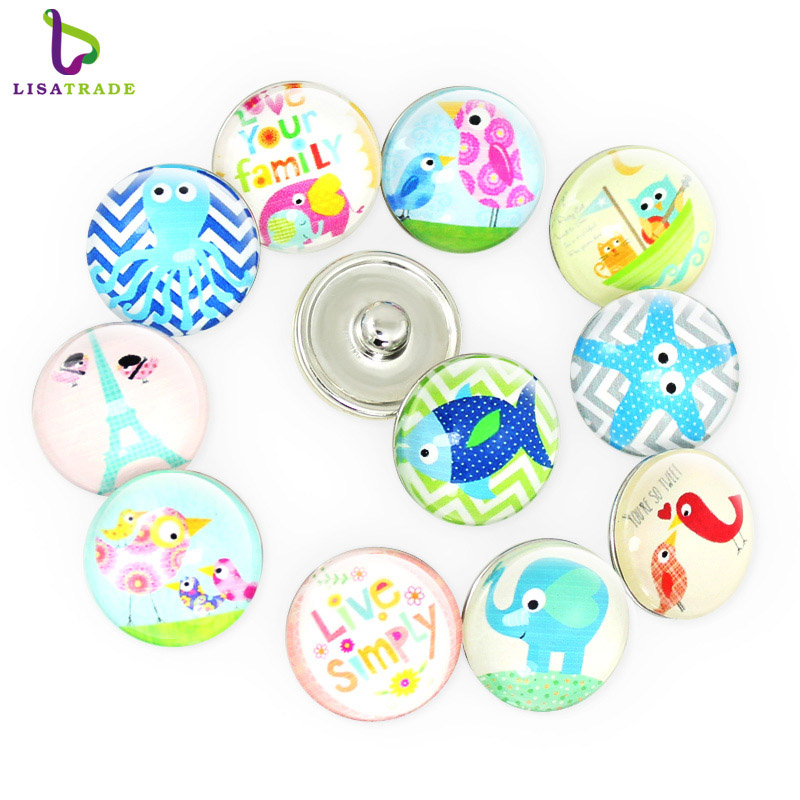 Wholesale10PCS 18MM Metal Snap Button with glass Mixed Styles DIY Snaps Charms Jewelry Bracelet&Bangle necklace LSSN067-083*10