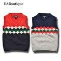 EABoutique 2016 Зимняя Мода рождество Винтаж Лондон стиль kinitting мальчиков свитер жилет для 2-7 лет