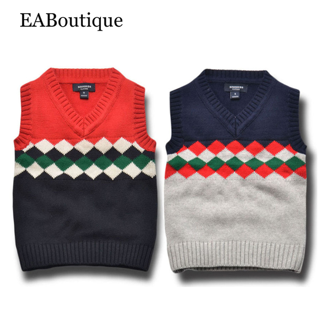 EABoutique 2016 Winter Fashion christmas Vintage London style kinitting boys sweater vest for 2-7 years old