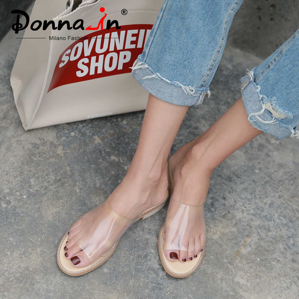 Donna-In Pvc Transparante Sandalen Clear Schoenen Lage Hak Kristal Slippers Casual Slides Strand Comfortabele Vrouwen Jelly 2019 Zomer