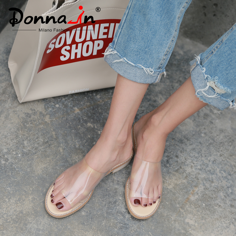 Donna-in PVC Transparent Sandals Clear Shoes Low Heel Crystal Slippers Casual Slides Beach Comfortable Women Jelly 2019 Summer