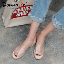 21a42eaad42a71 Donna-in PVC Transparent Sandals Clear Shoes Low Heel Crystal Slippers  Casual Slides Beach Comfortable Women Jelly 2019 Summer