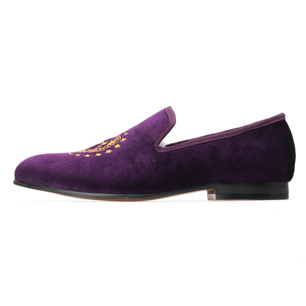 Banquete Se Purple Bordado De Moda Deep Festa Vestem Importado Homens Sapatos Veludo Requintado 4qpC7x